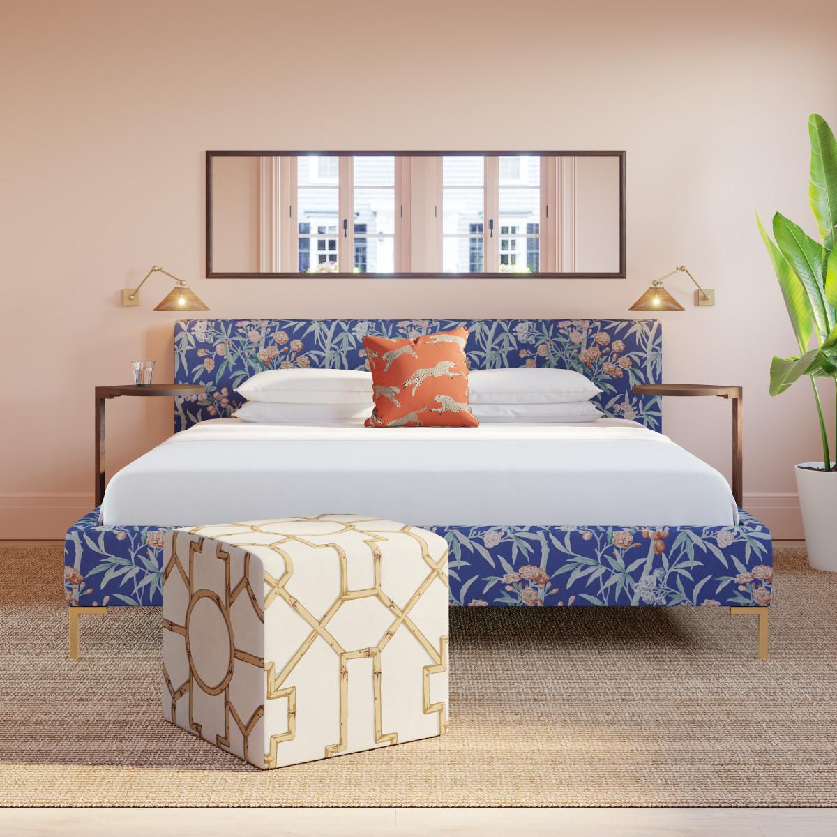 . Modern Platform Bed   Queen   Deep Blue Sperduti