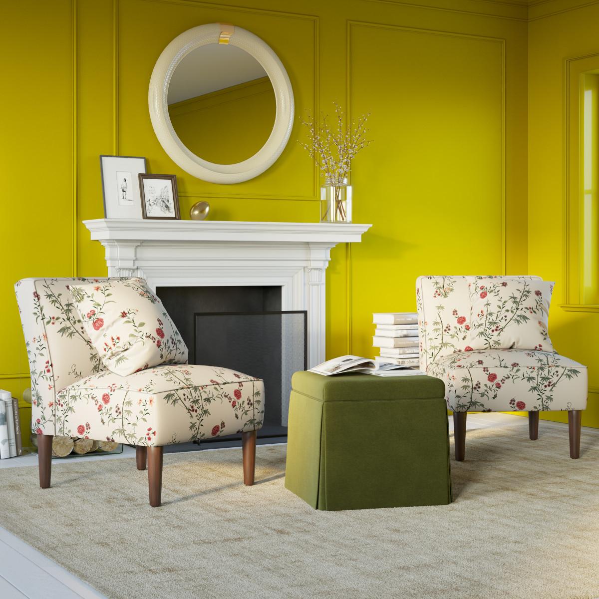 Enjoyable Skirted Storage Ottoman Yellow Zebra Inzonedesignstudio Interior Chair Design Inzonedesignstudiocom