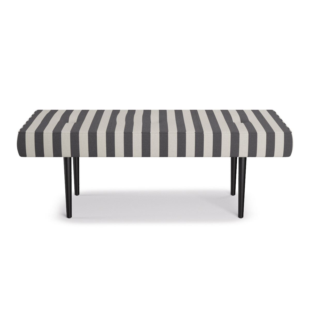 Fantastic Mid Century Bench Charcoal Cabana Stripe Beatyapartments Chair Design Images Beatyapartmentscom