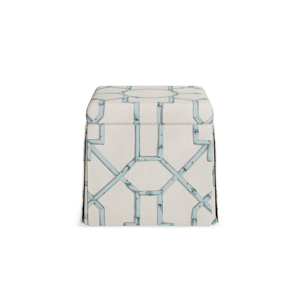 Magnificent Skirted Storage Ottoman Blue Baldwin Bamboo Inzonedesignstudio Interior Chair Design Inzonedesignstudiocom