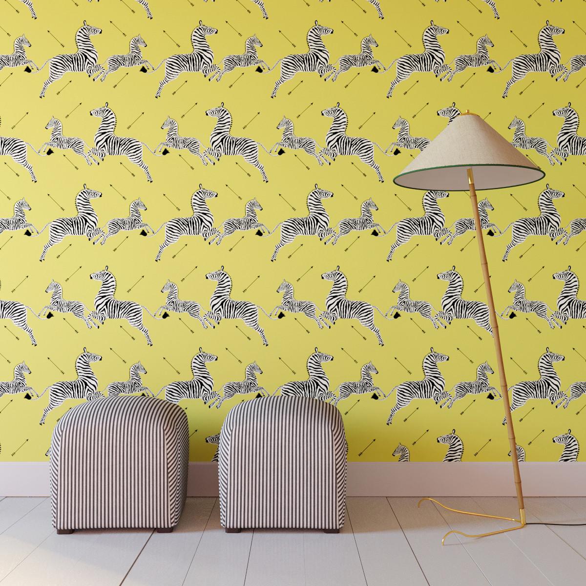 Peel and Stick Wallpaper Roll   Yellow Zebra