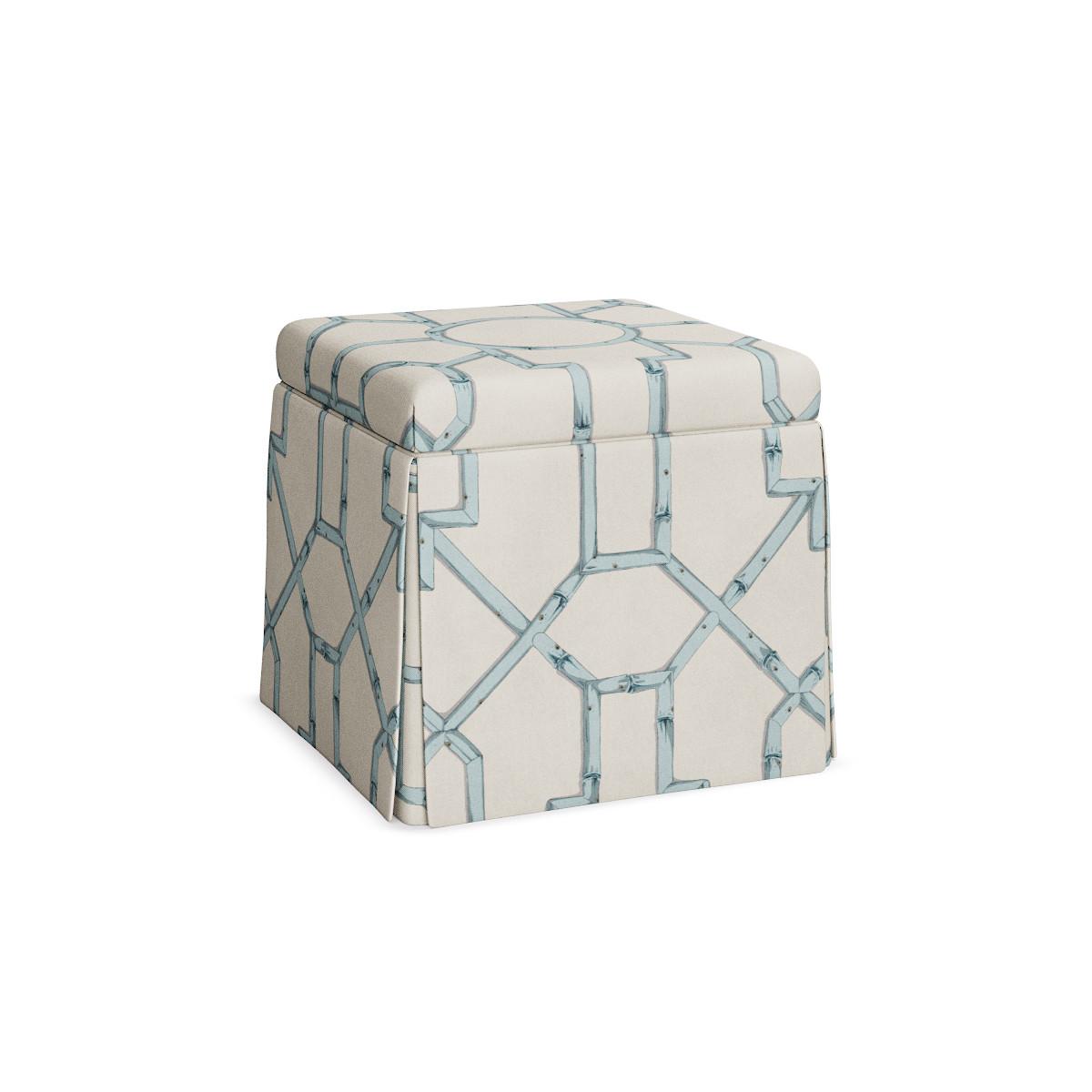 Surprising Skirted Storage Ottoman Blue Baldwin Bamboo Inzonedesignstudio Interior Chair Design Inzonedesignstudiocom